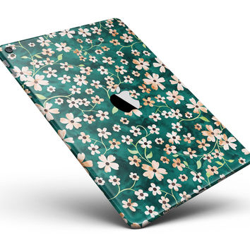 "Flowers with Stems over Deep Green Watercolor Full Body Skin for the iPad Pro (12.9"" or 9.7"" available)"