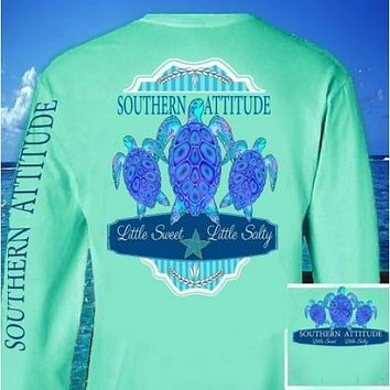 Country Life Outfitters Southern Attitude Mint 3 Turtles Starfish Vintage Girlie Bright Long Sleeve T Shirt