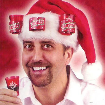 Adult Santa Hat - Holds 3 Shot Glasses, Included