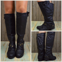 SZ 5 Roundup Wrangler Black Studded Riding Boots