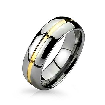 Two Tone Golden Stripe Wedding Band 14K Gold Plate Tungsten Ring 8MM