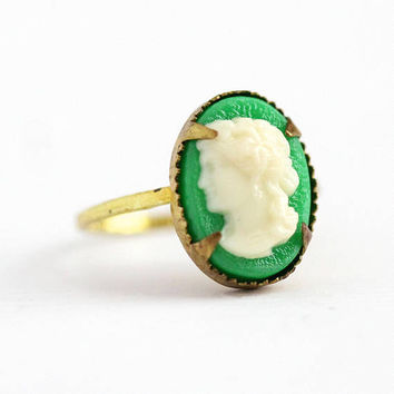 Vintage Cameo Ring - Brass Green & White Lucite Czech Ring - 1930s Size 3 1/4 Art Deco Made in Czechoslovakia Petite Dainty Costume Jewelry