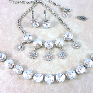 BRIDAL BLOOMS, Swarovski crystal 12mm bridal jewelry, white patina, clear crystals, flower drops, By Siggy