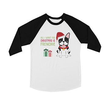 Christmas Frenchie Present BKWT Kids Baseball Shirt