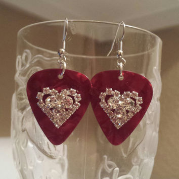 Guitar Pick Earrings - Betsy's Jewelry - Valentine's Day - Hearts - Rhinestones