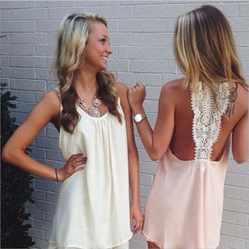 Halter Back Lace Design Sleeveless Dress
