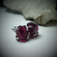 Raw Garnet Gemstone Post Earrings Silver