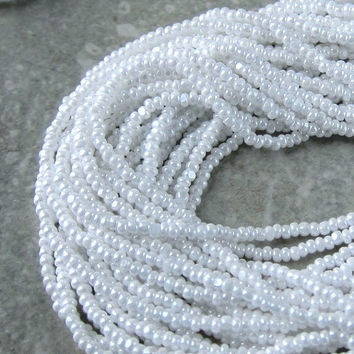 11/0 White Opaque Luster Charlottes / True Cuts Czech Seed Beads. 1 Long Hank.