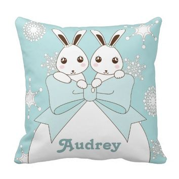 Cute Twin Bunnies and Snowflakes Kids Christmas Throw Pillows
