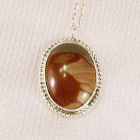 Sterling Silver Pendant: Picture Agate with 20 inch sterling silver chain - i1012