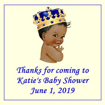 Prince Baby Shower Stickers Dark Skin