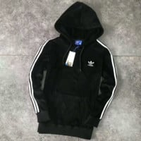ADIDAS Fashion Casual Sport Long Sleeve Hooded Zipper Velvet Sweater Coat G-A-GHSY-1