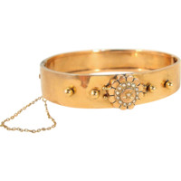 Stunning Victorian bracelet in 18K solid gold with pearls, stamped hinged cuff, fine gold jewelry Ca 1870s
