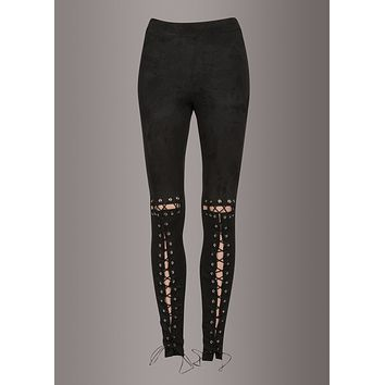 Fairies Wear Boots Black Faux Suede Lace up Leggings
