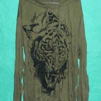 T Shirt OLIVE Green Hoodies Shirt Tiger Hood Tee Animal Art Awesome Tshirt Tiger tattoo Longsleeve Country screen printings XL,XXL Cotton