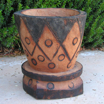 African Wooden Mortar Primitive Tribal Wood Carving Grinding Pot Bowl Planter