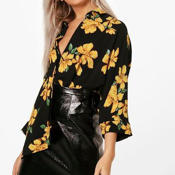 Charlie Floral Oversized Swing Shirt | Boohoo