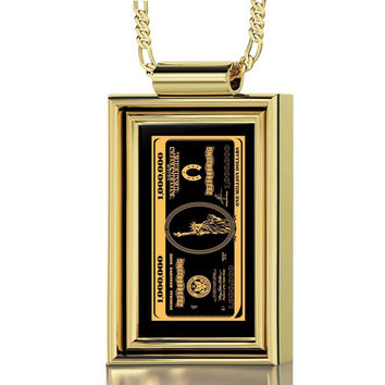 """One Million Dollars"", 24k Gold Plated Necklace, Onyx"