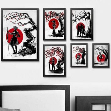 Japanese Cherry Blossom Abstract Anime Blueprint Wall Art Paint Decor Canvas Prints Canvas Art Poster Oil Paintings No Frame