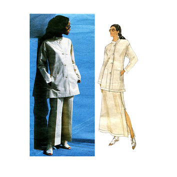 90s ISSEY MIYAKE Mandarin Collar Jacket A-Line Skirt & Pants PATTERN Vogue 1541 Designer Original Bust 40 42 44 UNCuT Womens Sewing Patterns