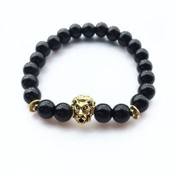Lava Stone Gold Lion Head Bracelets