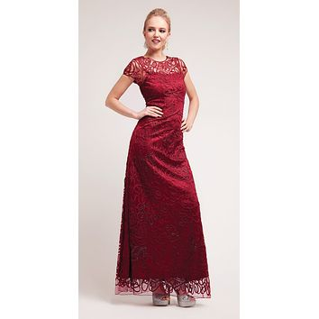Semi Formal Long Lace Burgundy Dress Tea Length Short Sleeve