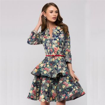 Floral Summer Dress 2018 New Fashion Women Elegant Vintage Dresses Spring Pink Sexy V-Neck Casual Party Dress