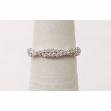 Twisted Diamond Wedding Band Stacking Ring - Infinity Pave Twist Half Eternity in 14K White, Yellow or Rose Gold