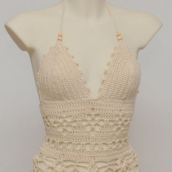 Festival crochet top. Beige halter top, new hippie retro halter top, summer beige tank, summer wear, festival top, crochet tank.