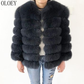 Natural Fur Coat Real Fox Fur Vest Jacket New High quality 100% leather coats Natural Real Coat and Fur genuine leather fur coat