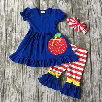 Summer back to school outfit girls cute clothes royal blue apple kids clothing stripes capri cotton set baby  with matching bow
