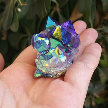 Aura Amethyst Cluster//aurora borealis//rainbow gemstone//wire wrapping//jewelry supplies