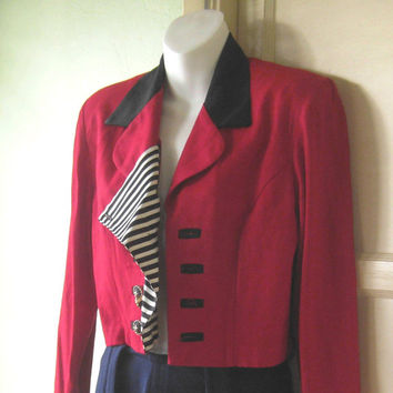 Cool Red Vintage Nautical Jacket; Peekaboo Sailor Stripe Placket - Cropped Red Military Top; Sgt Pepper - '80s Glam Rock/Romantic Red Blazer