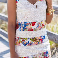 Classic Beauty Floral And Lace Mixed Print Cami Dress