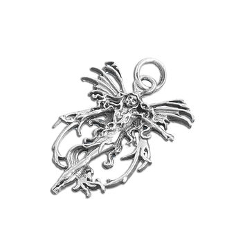"""Sterling Silver Fairy Goddess Pendant 32MM (Free 18"""" Chain)"""