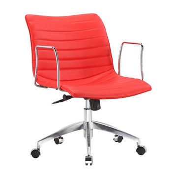 Red Faux Leather Upholstered Mid-Century Modern Mid-Back Office Chair