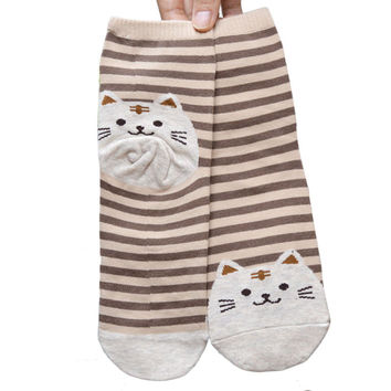 Lovely 3D Animals Striped Cartoon Funny Socks Women Cat Footprints Cotton Ankle Sock Floor Harajuku Style Candy Color #Yl10