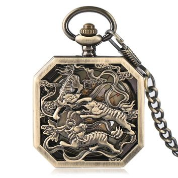 Steampunk Tiger Carving Copper Hand Winding Mechanical Pocket Watch Chain Skeleton Men Fob Watches Exquisite Retro Clock Gift