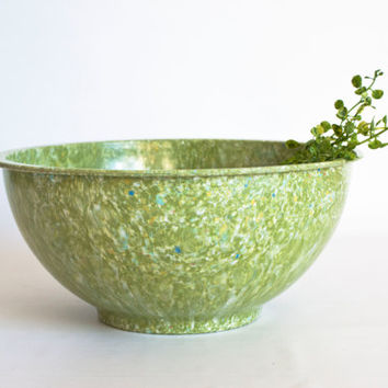 "Vintage Green Melmac Confetti Mixing Bowl, Apollo Ware Melamine Speckle ""Garbage"" Bowl by Alexander Barna"