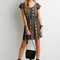 Tribal Print Babydoll Dress