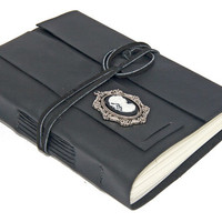 Black Leather Journal with Cameo Bookmark