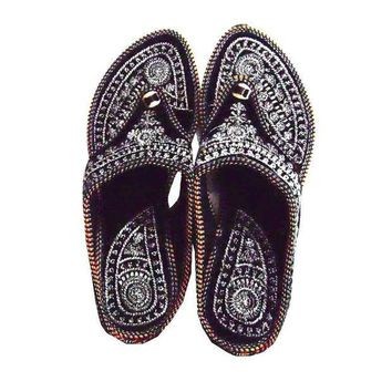 CREYON Rajasthani !! Embroidered Heel Wedges Ethnic Fashion Woman Sandal,Slippers 7.5