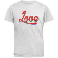 LGBT Script Love Rainbow White Adult T-Shirt