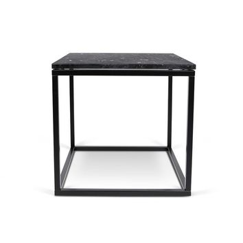 Prairie 20X20 Marble End Table Black Marble Top / Black Lacquered Steel Legs