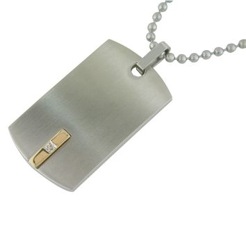 Stainless Steel Dog Tag Pendant with .01 CTTW Diamonds