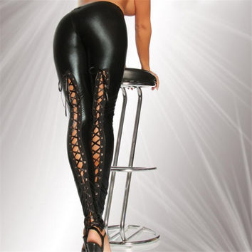 Punk Rock Sexy Faux Leather Strap Leggings Nightclub Stage Pants Women Leggings High Quality Slim Leggings 9QR496