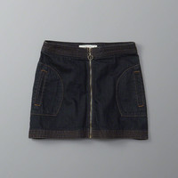 ZIP DENIM A-LINE SKIRT