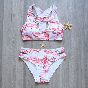Women Bikini Set Flamingo Print Swimsuit Bandeau Push Up Swimwear Long line Bandage Bathing Suit