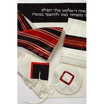 Fancy Black Maroon Wool Tallit