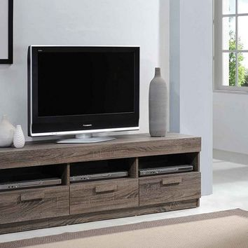 Acme 91167 Alvin collection rustic oak finish wood tv stand with multiple open areas for storage and drawers